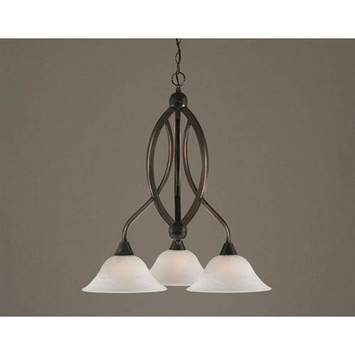 Toltec Lighting Bow Black Copper Downlight Three Light Chandelier With 10 Inch White Alabaster Gl Shade