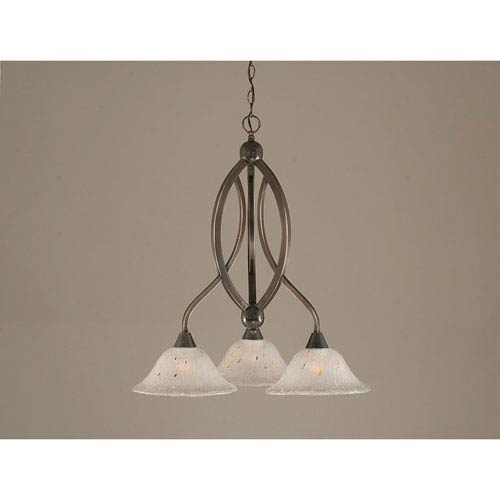 Bow Black Copper Downlight Three-Light Chandelier with 10-Inch Frosted Crystal Glass Shade