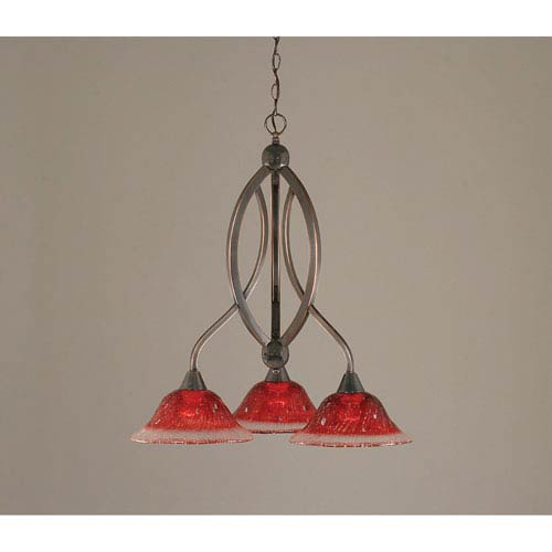 Toltec Lighting Bow Black Copper Downlight Three-Light Chandelier with 10-Inch Raspberry Glass Shade