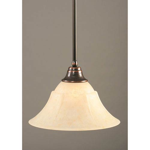 Toltec Lighting Black Copper One-Light Pendant with Amber Marble Glass Shade