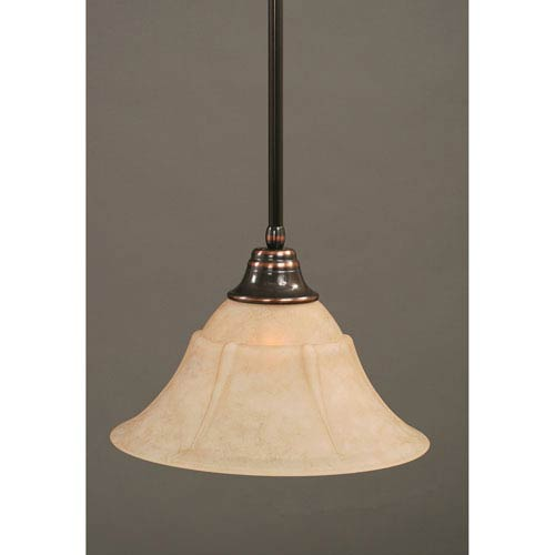 Toltec Lighting Black Copper One-Light Pendant with Italian Marble Glass Shade