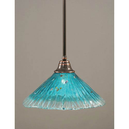 Toltec Lighting Black Copper One-Light Pendant with Teal Crystal Glass Shade