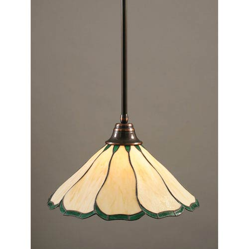 Toltec Lighting Black Copper One-Light Pendant with Honey and Hunter Green Flair Tiffany Glass