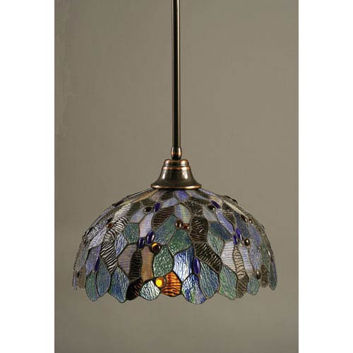 Black Copper One-Light Pendant with Blue Mosaic Tiffany Glass