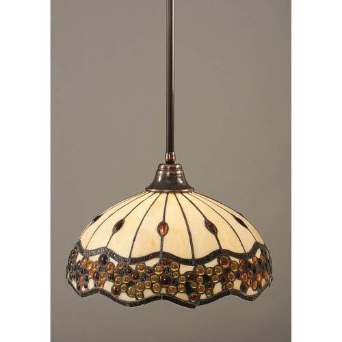 Black Copper One-Light Pendant with Roman Jewel Tiffany Glass
