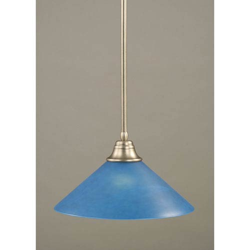 Brushed Nickel Stem Pendant with Blue Italian Glass