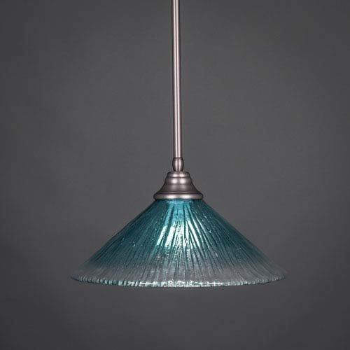 Brushed Nickel Stem Pendant with Teal Crystal Glass