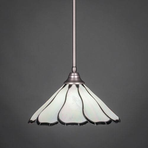 Brushed Nickel Stem Pendant with Pearl and Black Flair Tiffany Glass