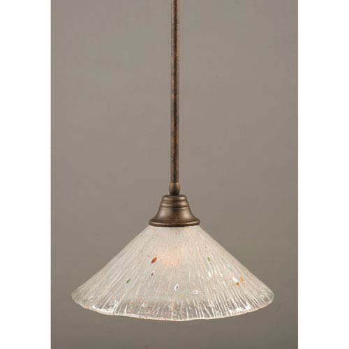 Toltec Lighting Bronze One-Light Pendant with Frosted Crystal Glass Shade
