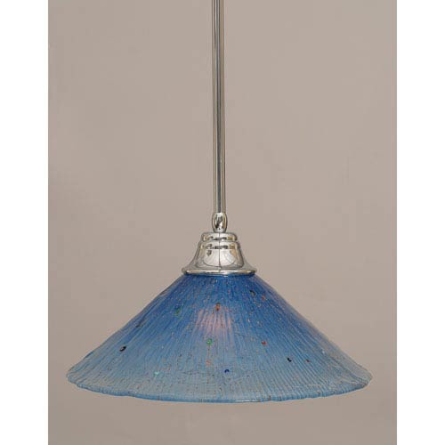 Chrome Stem Pendant with Teal Crystal Glass Shade