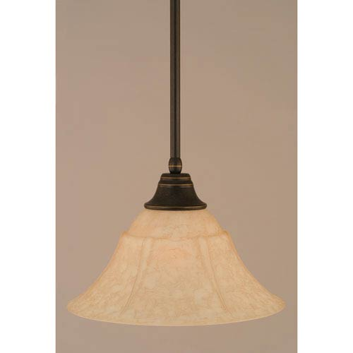 Dark Granite Stem Pendant with Italian Marble Glass Shade