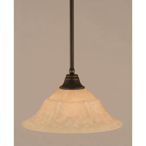 Dark Granite Stem Pendant with Italian Marble Glass Shade