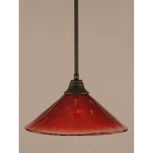 Dark Granite Stem Pendant with Raspberry Crystal Glass Shade