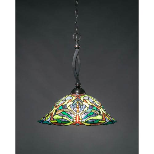 Bow Black Copper One-Light Pendant with Kaleidoscope Tiffany Glass