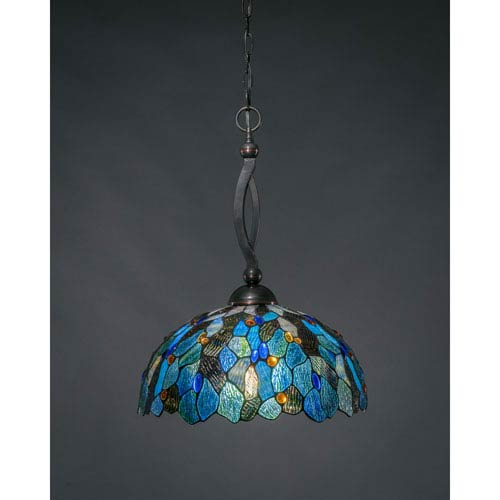 Toltec Lighting Bow Black Copper One-Light Pendant with Blue Mosaic Tiffany Glass