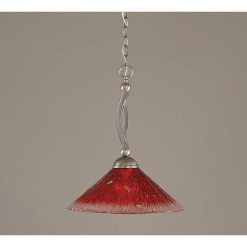 Toltec Lighting Bow Brushed Nickel Downlight One-Light Pendant with 16-Inch Raspberry Crystal Glass Shade