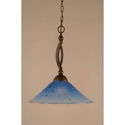 Bow Bronze Pendant with Teal Crystal Glass