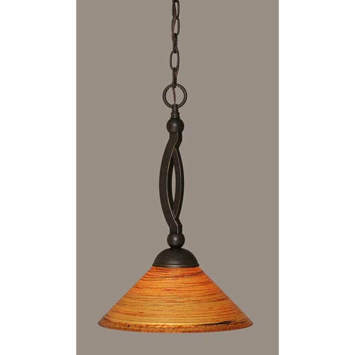 Toltec Lighting Bow Dark Granite Pendant with 12-Inch Firre Saturn Glass