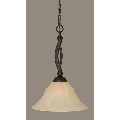Toltec Lighting Bow Dark Granite Pendant with 14-Inch Amber Marble Glass