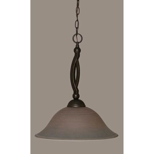 Toltec Lighting Bow Dark Granite Pendant with 16-Inch Gray Linen Glass