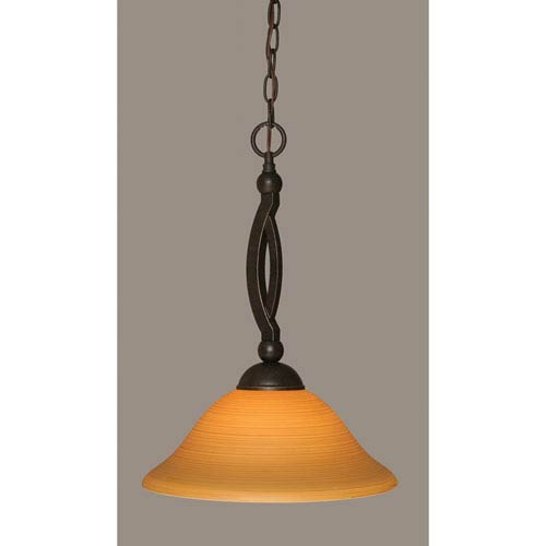 Toltec Lighting Bow Dark Granite Pendant with 12-Inch Cayenne Linen Glass