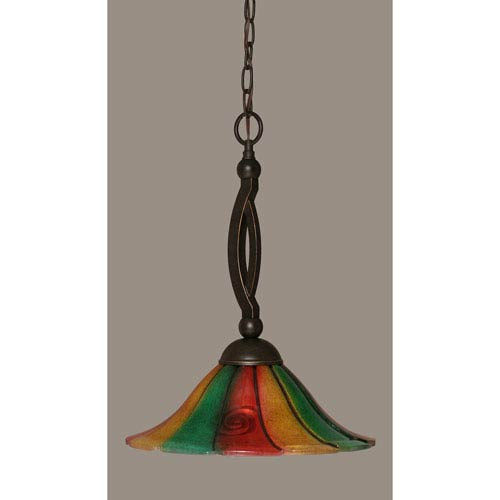 Toltec Lighting Bow Dark Granite Pendant with 14-Inch Mardi Gras Glass