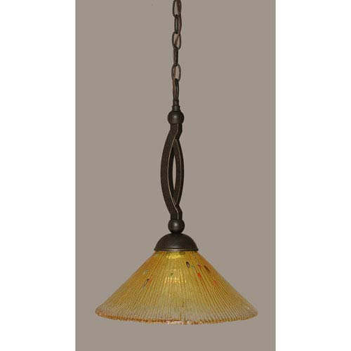 Toltec Lighting Bow Dark Granite Pendant with 12-Inch Gold Champagne Crystal Glass