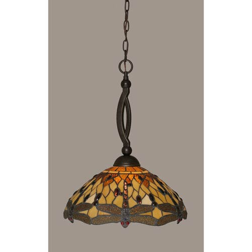 Toltec Lighting Bow Dark Granite Pendant with 16-Inch Amber Dragonfly Tiffany Glass