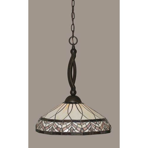Toltec Lighting Bow Dark Granite Pendant with 16-Inch Royal Merlot Tiffany Glass