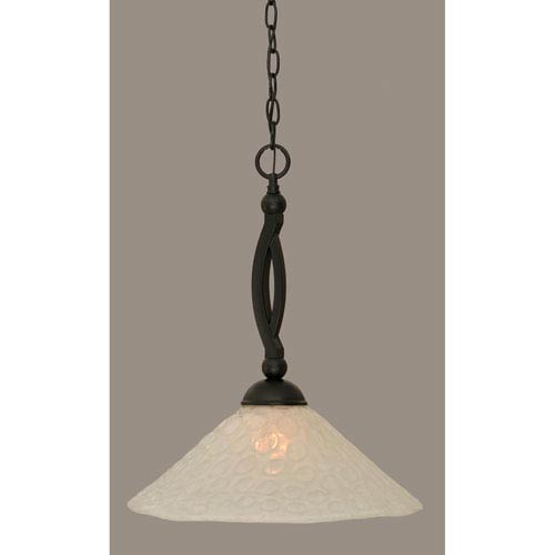 Toltec Lighting Bow Matte Black 16-Inch One Light Pendant with Italian Bubble Glass