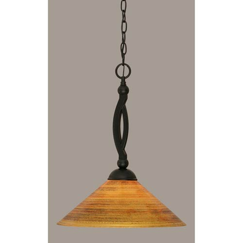 Toltec Lighting Bow Matte Black 16-Inch One Light Pendant with Firre Saturn Glass