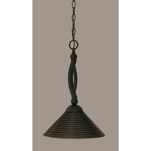Bow Matte Black 12-Inch One Light Pendant with Charcoal Spiral Glass