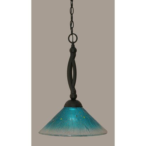 Toltec Lighting Bow Matte Black 12-Inch One Light Pendant with Teal Crystal Glass