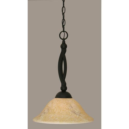 Toltec Lighting Bow Matte Black 12-Inch One Light Pendant with Italian Marble Glass