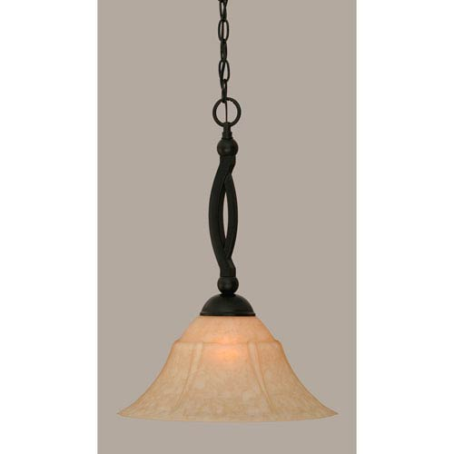 Toltec Lighting Bow Matte Black 14-Inch One Light Pendant with Italian Marble Glass