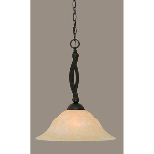 Toltec Lighting Bow Matte Black 16-Inch One Light Pendant with Amber Marble Glass