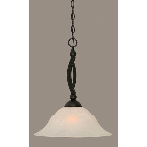 Toltec Lighting Bow Matte Black 16-Inch One Light Pendant with White Marble Glass