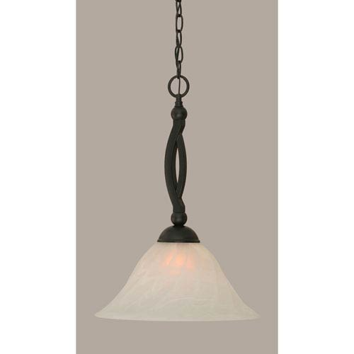 Bow Matte Black 14-Inch One Light Pendant with White Alabaster Glass