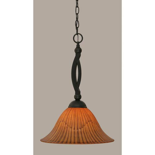 Toltec Lighting Bow Matte Black 14-Inch One Light Pendant with Tiger Glass