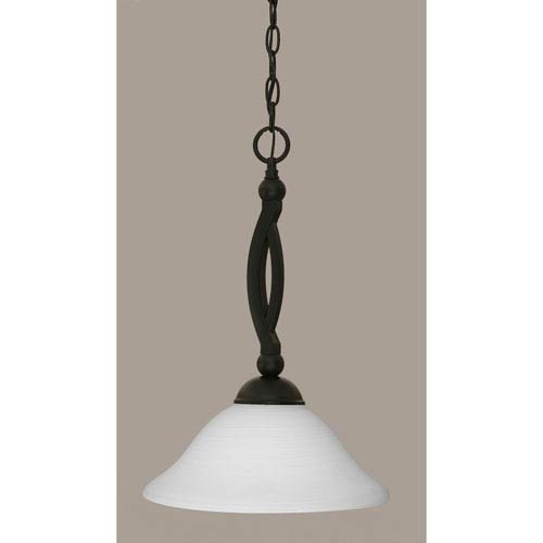 Toltec Lighting Bow Matte Black 12-Inch One Light Pendant with White Linen Glass