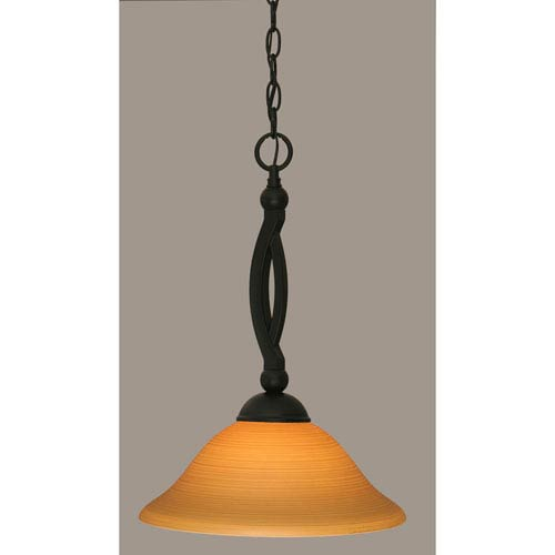 Toltec Lighting Bow Matte Black 12-Inch One Light Pendant with Cayenne Linen Glass