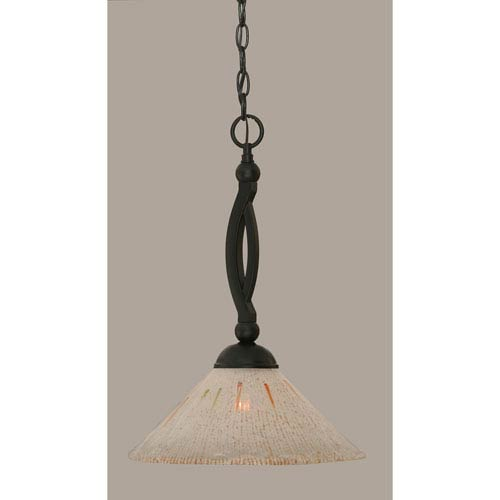 Toltec Lighting Bow Matte Black 12-Inch One Light Pendant with Frosted Crystal Glass
