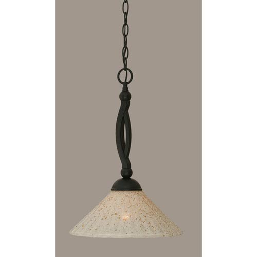 Toltec Lighting Bow Matte Black 12-Inch One Light Pendant with Gold Ice Glass