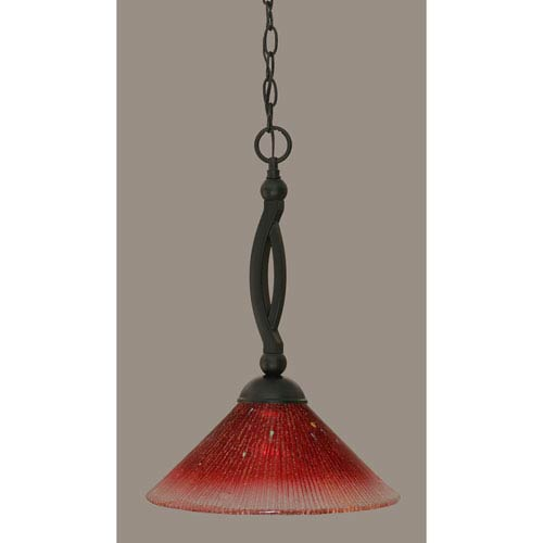 Bow Matte Black 12-Inch One Light Pendant with Raspberry Crystal Glass