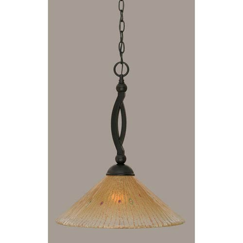 Toltec Lighting Bow Matte Black 16-Inch One Light Pendant with Amber Crystal Glass