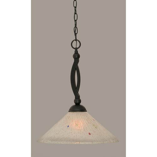 Bow Matte Black 16-Inch One Light Pendant with Frosted Crystal Glass