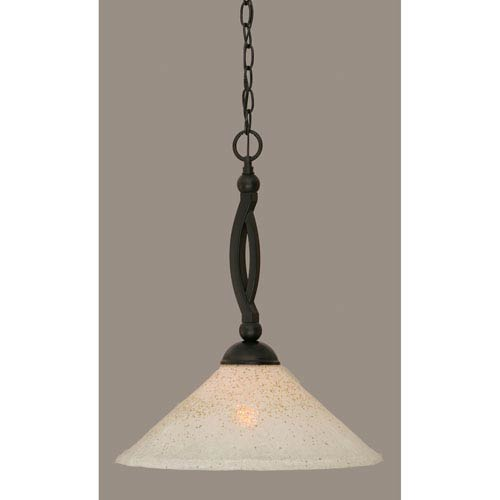 Toltec Lighting Bow Matte Black 16-Inch One Light Pendant with Gold Ice Glass