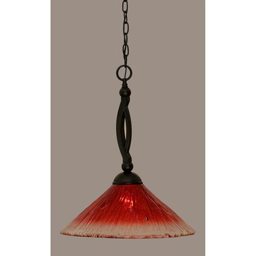 Toltec Lighting Bow Matte Black 16-Inch One Light Pendant with Raspberry Crystal Glass