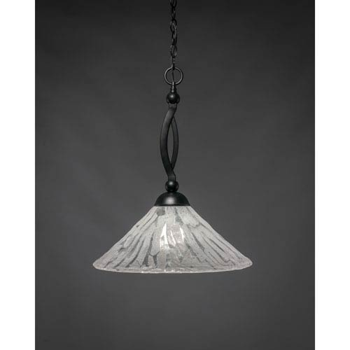Toltec Lighting Bow Matte Black 16-Inch One Light Pendant with Italian Ice Glass