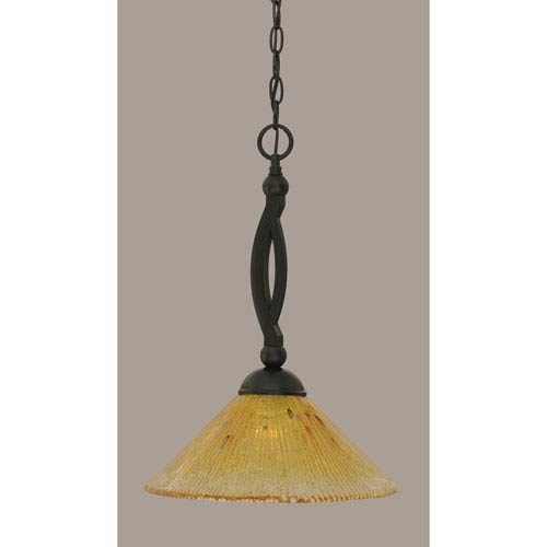 Bow Matte Black 12-Inch One Light Pendant with Gold Champagne Crystal Glass